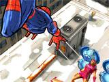 Spider-Man Unlimited beating up a villain