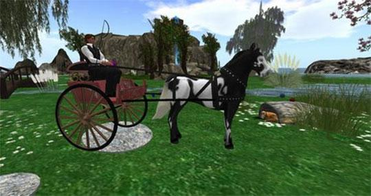 Amaretto Carriage Horse in Second Life