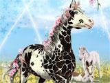 Horse with black giraffe-like spots