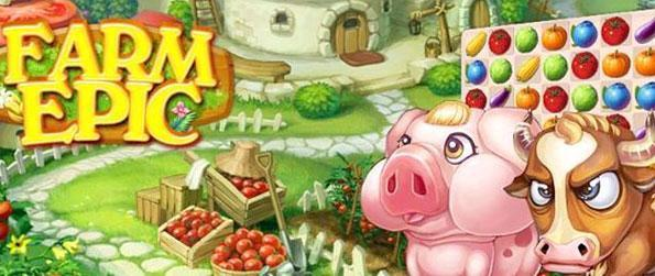Farm Epic - Wander through the town and complete match 3 games as you farm crops for Billy Bull