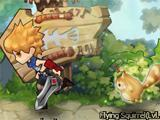 a swordsman running with his pet in the early stages of Lunaria Story